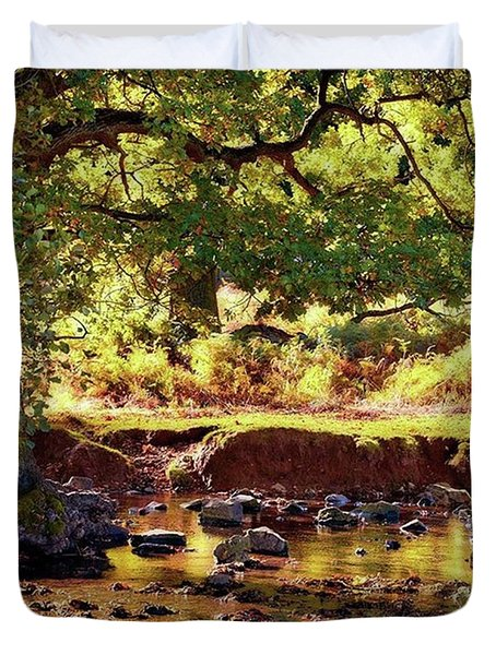 The River Lin , Bradgate Park Duvet Cover by John Edwards