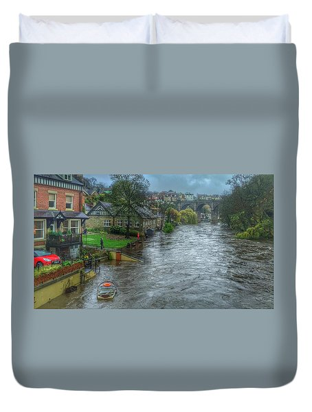 The River Nidd In Flood At Knaresborough Duvet Cover