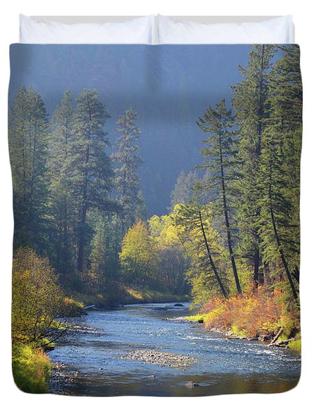 The River Runs Through Autumn Duvet Cover