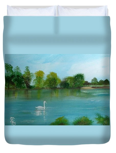 The River Thames At Shepperton Duvet Cover