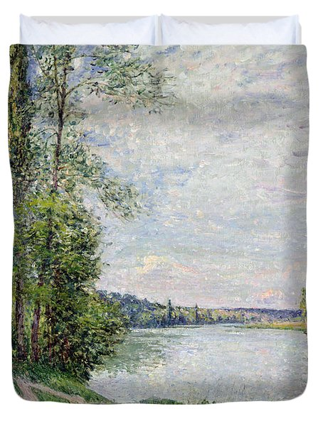 The Riverside Road From Veneux To Thomery Duvet Cover by Alfred Sisley