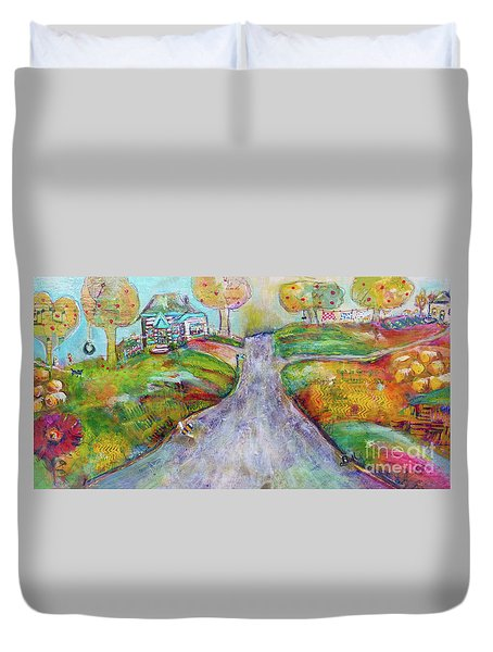 Duvet Cover featuring the painting The Road Home by Claire Bull