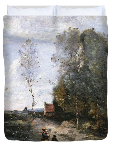 The Road Duvet Cover by Jean Baptiste Camille Corot