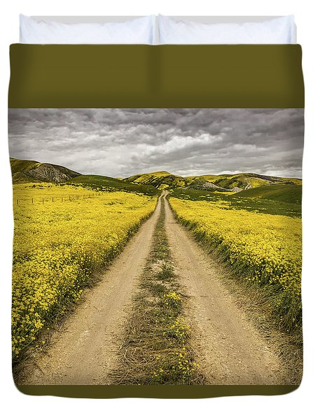 The Road Less Pollenated Duvet Cover by Peter Tellone