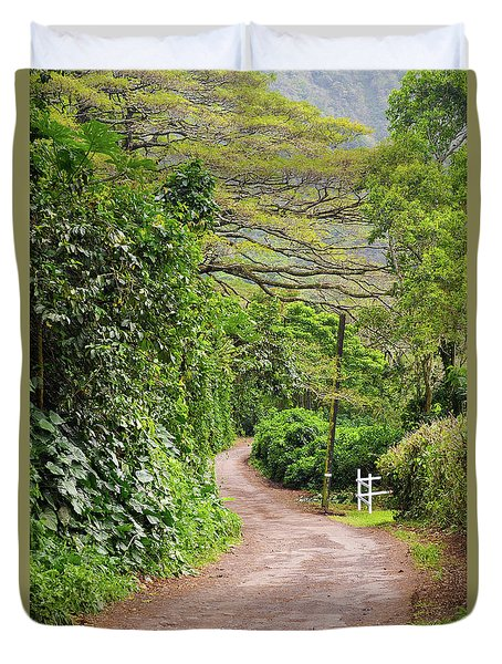 The Road Less Traveled-waipio Valley Hawaii Duvet Cover