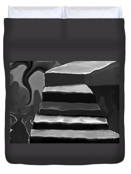 Duvet Cover featuring the mixed media The Road To Despair by Patricia Griffin Brett