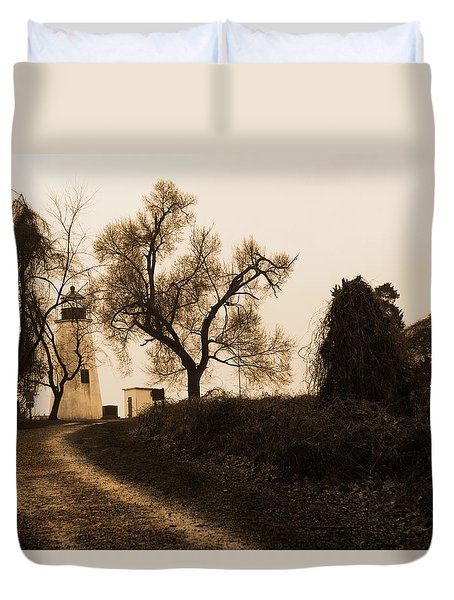 The Road To Turkey Point Lighthouse Duvet Cover