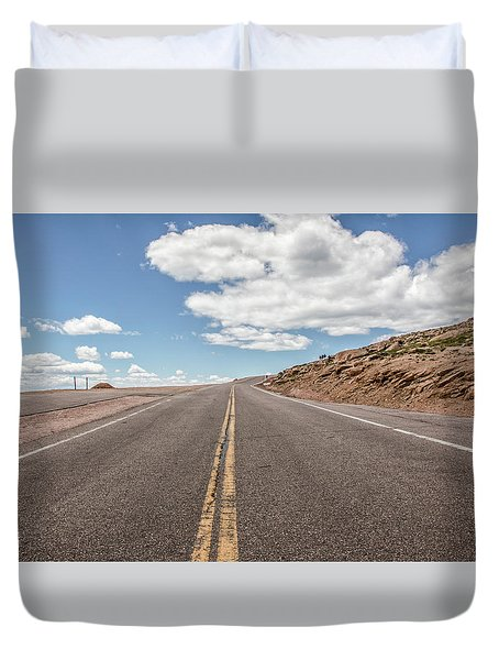 Duvet Cover featuring the photograph The Road Up Pikes Peak At Around 12,000 Feet by Peter Ciro