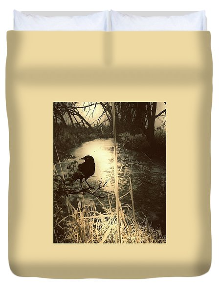 The Robin And The Wren Are Flown. Winter Crow Duvet Cover