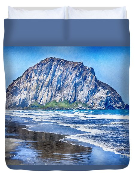 The Rock At Morro Bay Large Canvas Art, Canvas Print, Large Art, Large Wall Decor, Home Decor, Photo Duvet Cover by David Millenheft