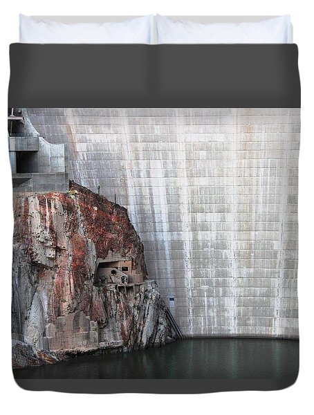 The Rock Behind The Dam Duvet Cover by Natalie Ortiz