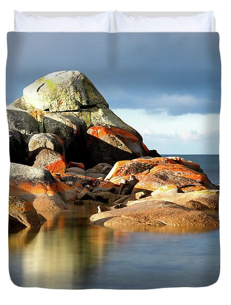Duvet Cover featuring the photograph The Rocks And The Water by Nicholas Blackwell