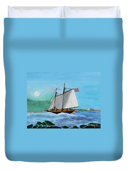 The Cliffs At Baccalieu Duvet Cover by Bill Hubbard