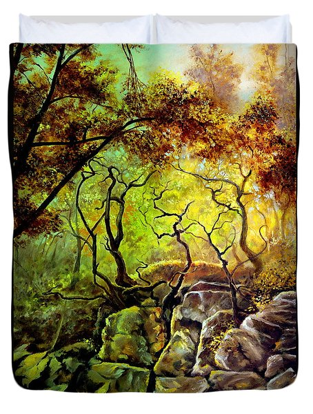 Duvet Cover featuring the painting The Rocks In Starachowice by Henryk Gorecki