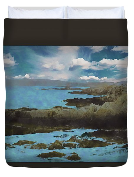 The Rocky Maine Coast. Duvet Cover
