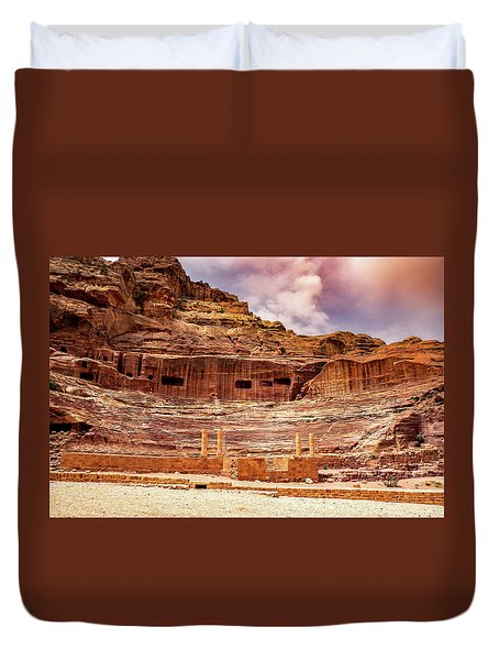 The Roman Theater At Petra Duvet Cover