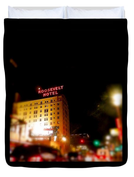 Duvet Cover featuring the photograph The Roosevelt Hotel By David Pucciarelli  by Iconic Images Art Gallery David Pucciarelli