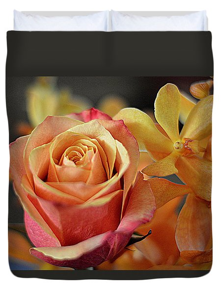 Duvet Cover featuring the photograph The Rose And The Orchid by Diana Mary Sharpton