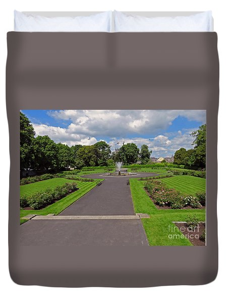 The Rose Garden Of Kilkenny Castle Duvet Cover by Cindy Murphy - NightVisions