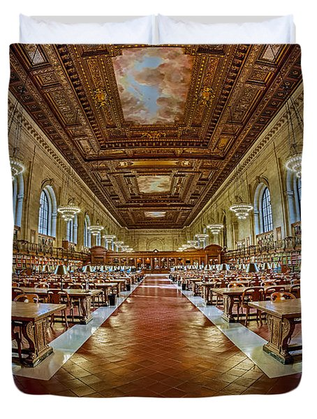 The Rose Main Reading Room Nypl Duvet Cover by Susan Candelario