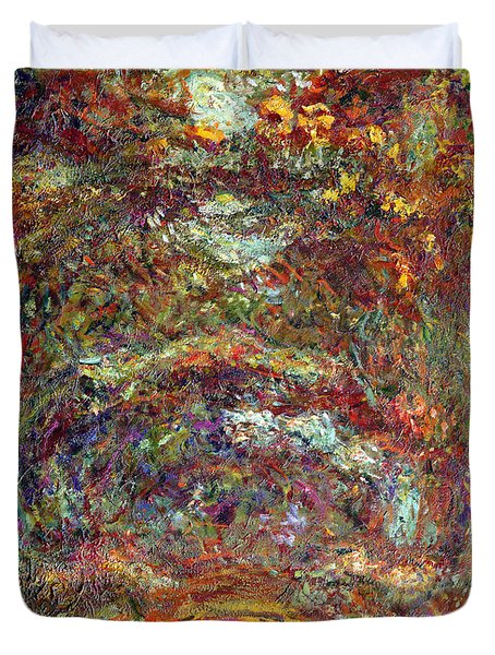 The Rose Path Giverny Duvet Cover by Claude Monet