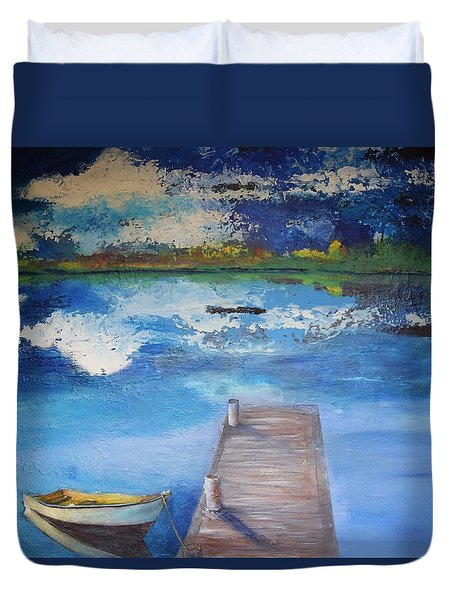 Duvet Cover featuring the painting The Rowboat by Gary Smith