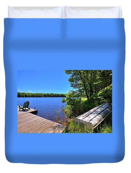 Duvet Cover featuring the photograph The Rowboat On West Lake by David Patterson