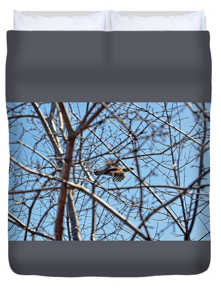 The Ruffed Grouse Flying Through Trees And Branches Duvet Cover by Asbed Iskedjian