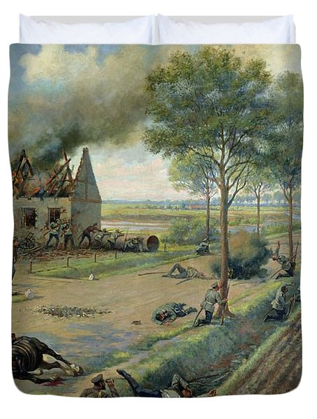The Russian Cavalry Fighting The Germans In A Village In 1915 Duvet Cover by Viktor Viketyevich Masurovsky
