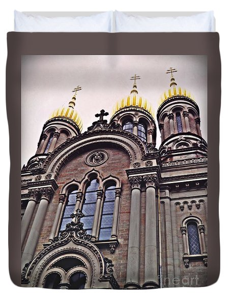 The Russian Church In Wiesbaden 2 Duvet Cover by Sarah Loft