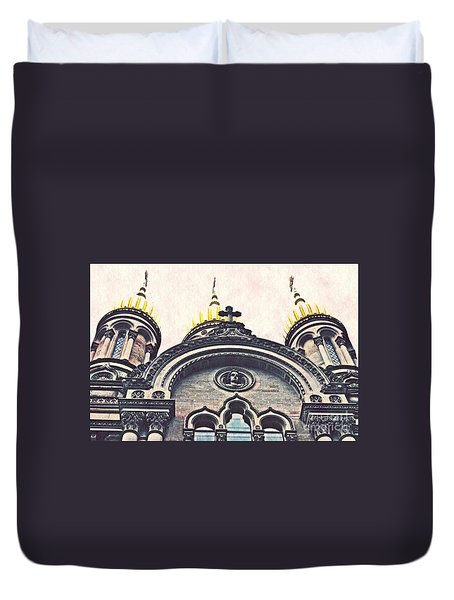 The Russian Church In Wiesbaden Duvet Cover by Sarah Loft