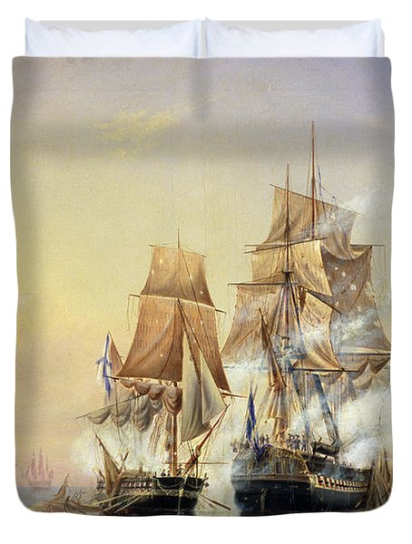 The Russian Cutter Mercury Captures The Swedish Frigate Venus On 21st May 1789 Duvet Cover by Aleksei Petrovich Bogolyubov