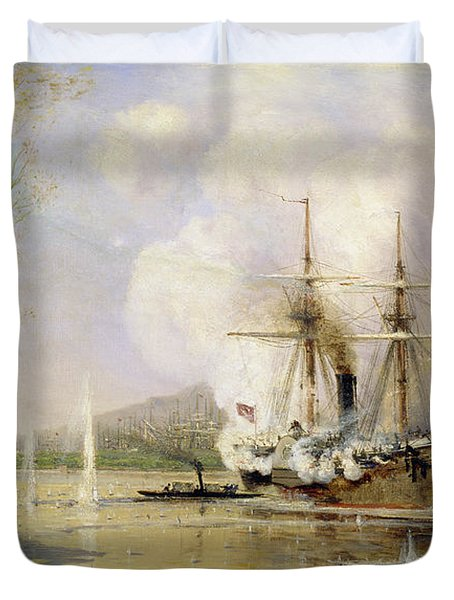 The Russian Destroyer Shutka Attacking A Turkish Ship On The 16th June 1877 Duvet Cover by Aleksei Petrovich Bogolyubov