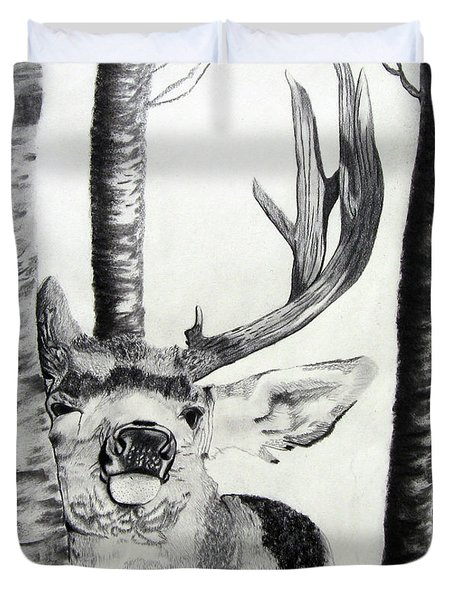 Duvet Cover featuring the drawing The Rutt by Mayhem Mediums