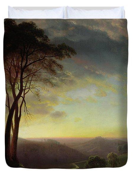 The Sacramento River Valley  Duvet Cover by Albert Bierstadt
