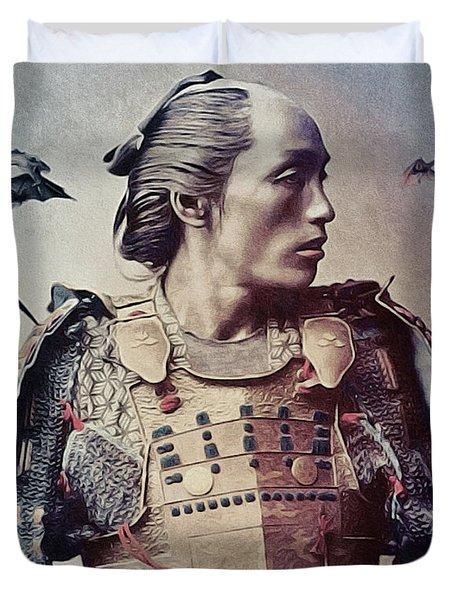 The Samurai And The Dragons Duvet Cover