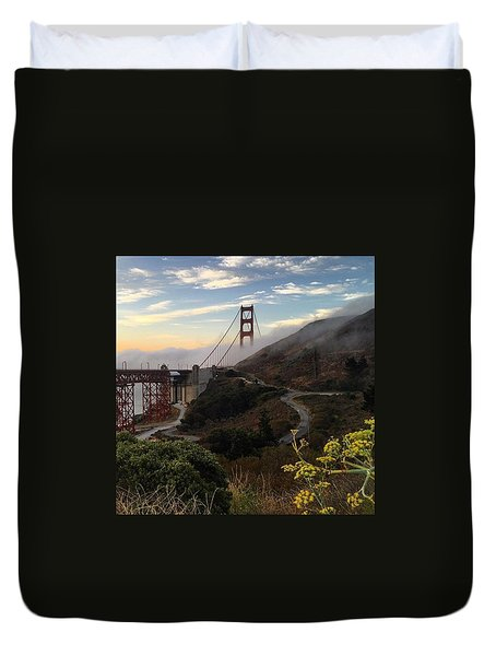 The Fog Returns To The Golden Gate At Sunrise Duvet Cover by Eugene Evon