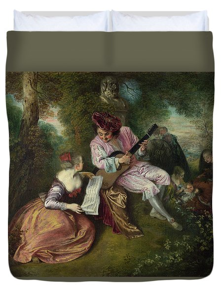 The Scale Of Love Duvet Cover by Jean-Antoine Watteau