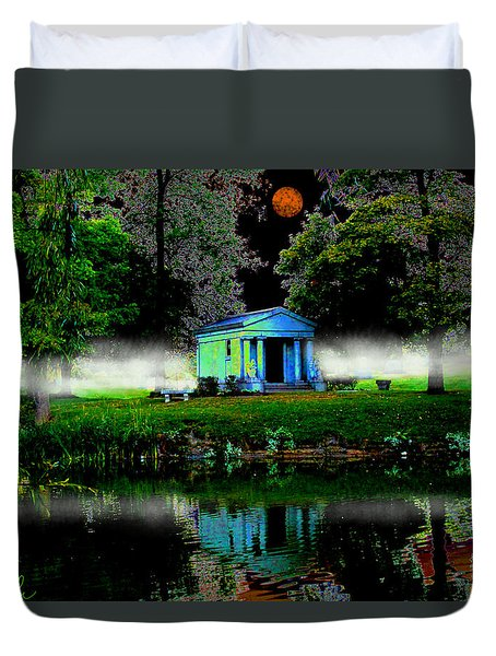 Duvet Cover featuring the digital art The Cemetery  by Michael Rucker