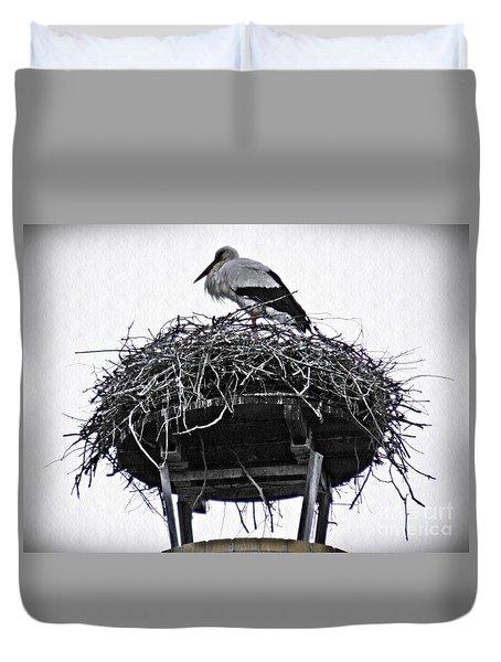 The Schierstein Stork Duvet Cover by Sarah Loft