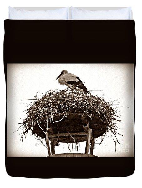 The Schierstein Stork Sepia Duvet Cover by Sarah Loft
