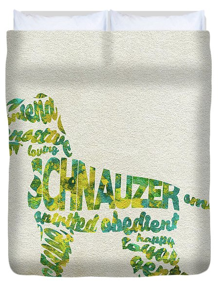 Duvet Cover featuring the painting The Schnauzer Dog Watercolor Painting / Typographic Art by Inspirowl Design
