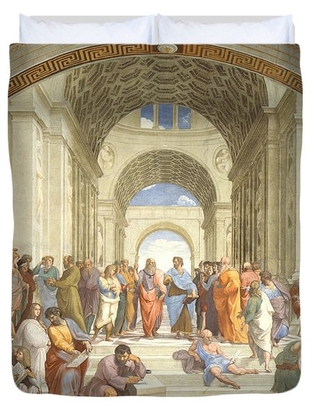 The School Of Athens, Raphael Duvet Cover by Science Source