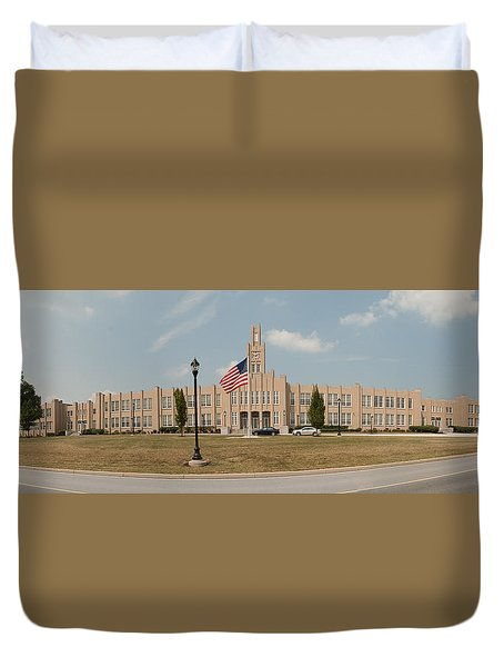 Duvet Cover featuring the photograph The School On The Hill Panorama by Mark Dodd