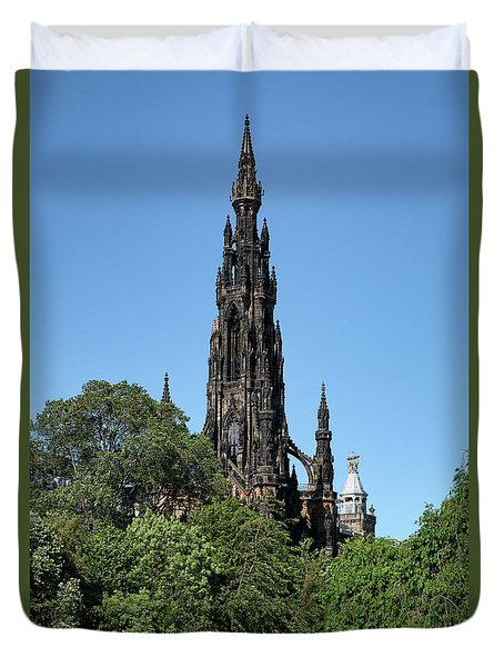 Duvet Cover featuring the photograph The Scott Monument In Edinburgh, Scotland by Jeremy Lavender Photography