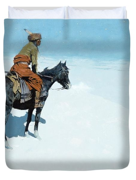 The Scout Friends Or Foes Duvet Cover by Frederic Remington