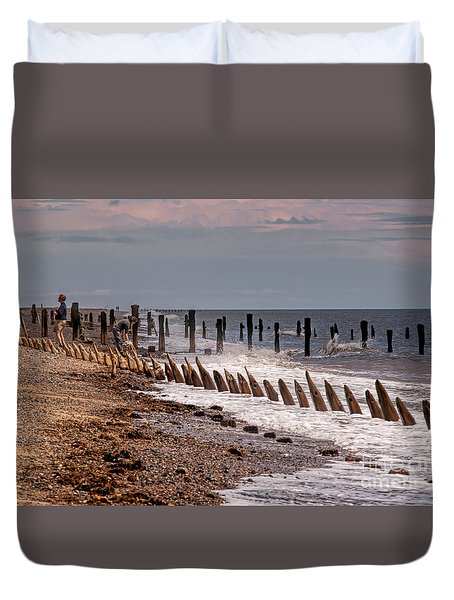 The Sea And Groynes Duvet Cover by David  Hollingworth