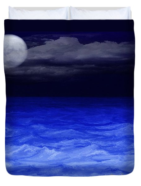 The Sea At Night Duvet Cover by Gina Lee Manley