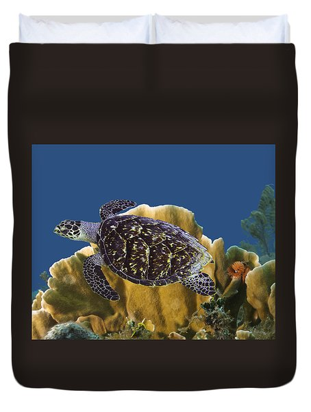 Duvet Cover featuring the photograph The Sea Turtle by Paula Porterfield-Izzo