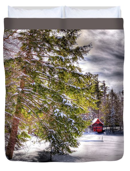 Duvet Cover featuring the photograph The Secluded Boathouse by David Patterson